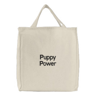 Puppy Power Embroidered Tote Bag