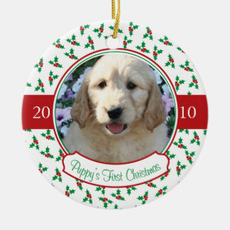 Puppy s First Christmas - Holly Berries Ornament