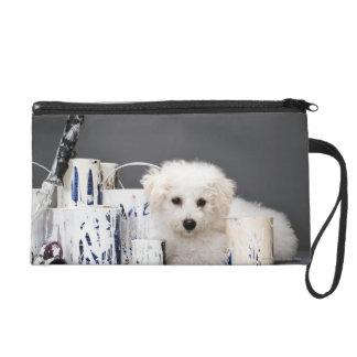 Puppy sitting amongst paint tins wristlets
