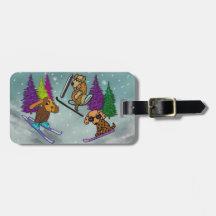 Puppy Ski Vacation Bag Tag