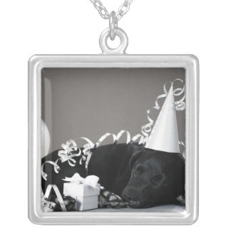 Puppy sleeping in party decorations silver plated necklace