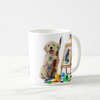 Puppy the artist draws the bird coffee mug