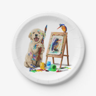 Puppy the artist draws the bird paper plate