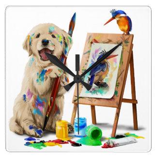 Puppy the artist draws the bird square wall clock