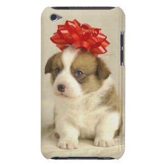 Puppy wearing a red bow iPod touch cases