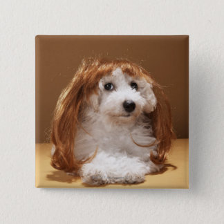 Puppy wearing ginger wig 15 cm square badge