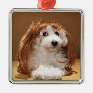 Puppy wearing ginger wig christmas ornament