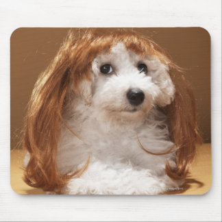 Puppy wearing ginger wig mouse pad