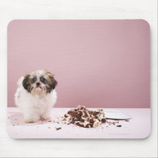 Puppy with cake on floor mouse mat