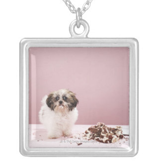 Puppy with cake on floor square pendant necklace