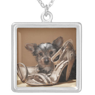 Puppy with damaged shoe square pendant necklace