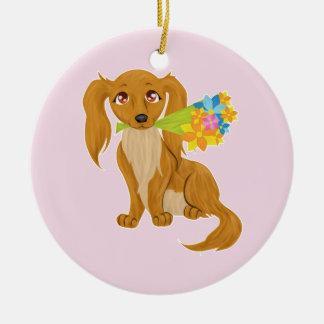 Puppy with Flower Bouquet Round Ceramic Decoration