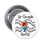 Puppy with Pencil 1st Grade Rocks Button