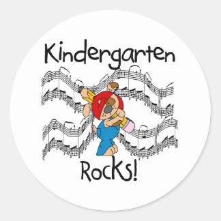 Puppy with Pencil Kindergarten Rocks Classic Round Sticker