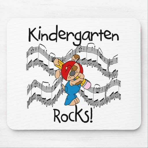 Puppy with Pencil Kindergarten Rocks Mouse Pads