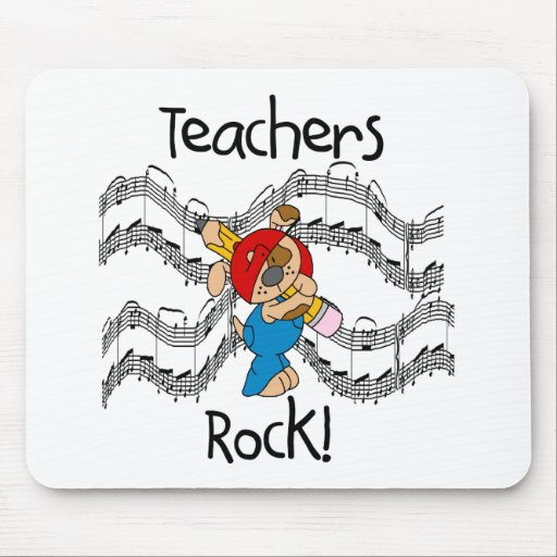 Puppy with Pencil Teachers Rock Mouse Pad