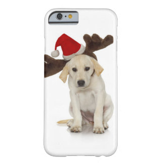 Puppy with Santa Hat and Reindeer Ears Barely There iPhone 6 Case