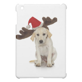 Puppy with Santa Hat and Reindeer Ears Cover For The iPad Mini