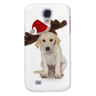 Puppy with Santa Hat and Reindeer Ears Galaxy S4 Case