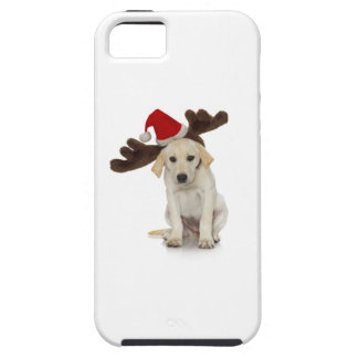 Puppy with Santa Hat and Reindeer Ears iPhone 5 Cases