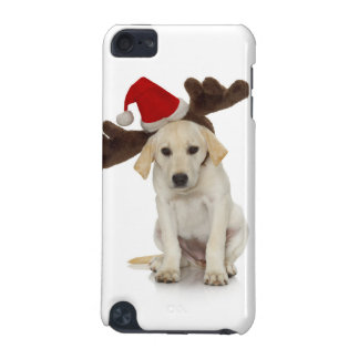 Puppy with Santa Hat and Reindeer Ears iPod Touch 5G Covers