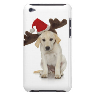 Puppy with Santa Hat and Reindeer Ears iPod Touch Cover