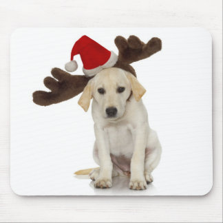 Puppy with Santa Hat and Reindeer Ears Mouse Pads