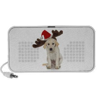 Puppy with Santa Hat and Reindeer Ears Notebook Speaker