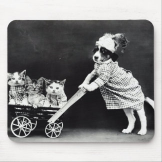 Puppy with Three Kittens in a Carriage Mouse Mat