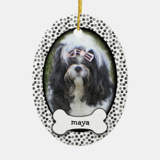 Puppy's First Christmas • Adopted Dog • Dated Ceramic Oval Decoration