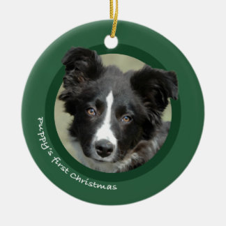 Puppy's First Christmas (Border Collie) Christmas Ornament