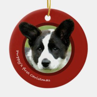 Puppy's First Christmas (Cardigan Welsh Corgi) Christmas Ornament