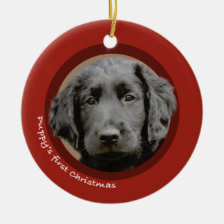Puppy's First Christmas (Flat-Coated Retriever) Christmas Ornament