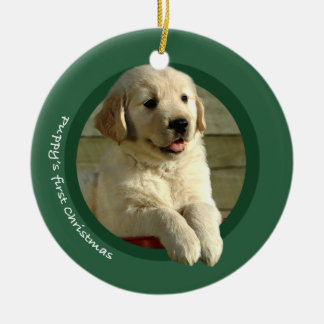 Puppy's First Christmas (Golden Retriever) Christmas Ornament