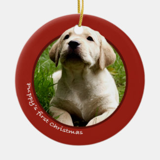 Puppy's First Christmas (Labrador Retriever) Round Ceramic Decoration