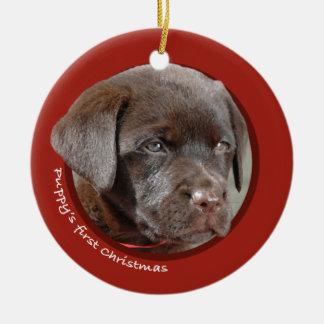 Puppy's First Christmas (Labrador Retriever) Round Ceramic Decoration