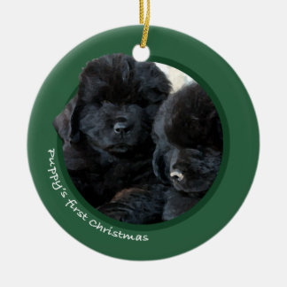 Puppy's First Christmas (Newfoundland) Christmas Ornament