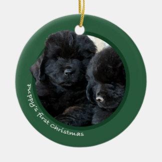 Puppy's First Christmas (Newfoundland) Round Ceramic Decoration