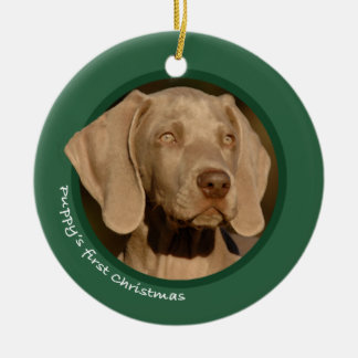 Puppy's First Christmas (Weimaraner) Christmas Ornament