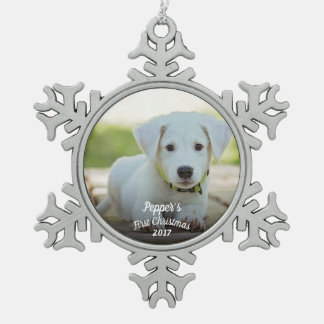 Puppy's first Christmas with name + year Snowflake Pewter Christmas Ornament