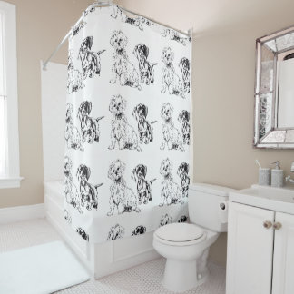 Pups, dachshund and maltese, buddies shower curtain