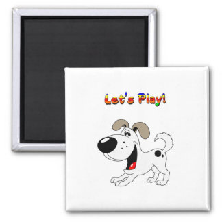 Pup's Invitation to Play! Square Magnet
