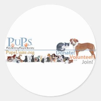 PUPs Logo Merchandise Round Sticker