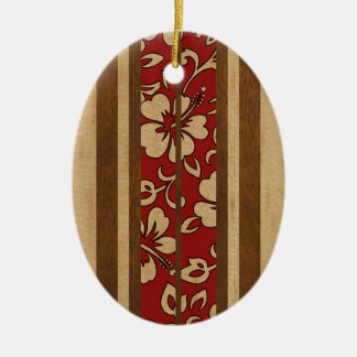 Pupukea Vintage Hawaiian Faux Wood Surfboard Christmas Ornament