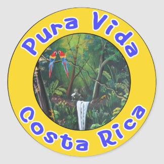 Pura Vida, Costa Rica Classic Round Sticker