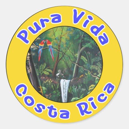 Pura Vida, Costa Rica Round Stickers