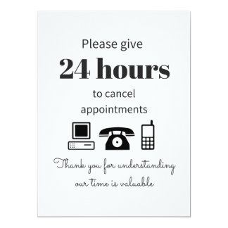 Purchase this 24 hour cancellation policy 17 cm x 22 cm invitation card