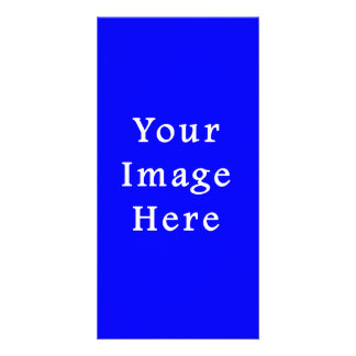 Pure Bright Blue Color Trend Blank Template Personalized Photo Card