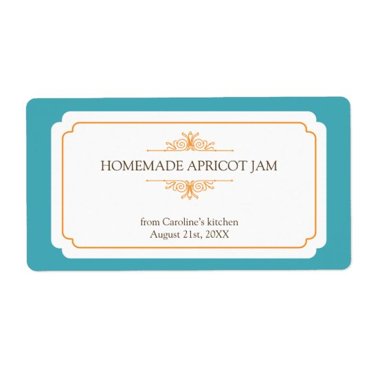 Pure elegance solid teal frame kitchen stickers shipping label
