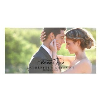 Pure Elegance Wedding Thank You - Black Customized Photo Card